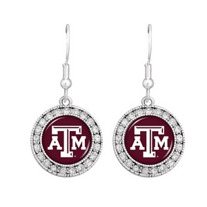 Officially licensed silver toned Texas A and M earrings with crystal rhinestones surrounding the logo.