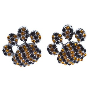 """1"""" Stud paw earrings with yellow and black rhinestones."""