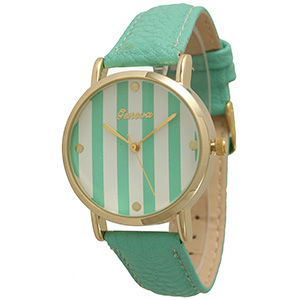 "Beautiful bright turquoise faux leather band watch featuring a 1 1/4"" gold tone rimmed turquoise and white stripe print watch face."