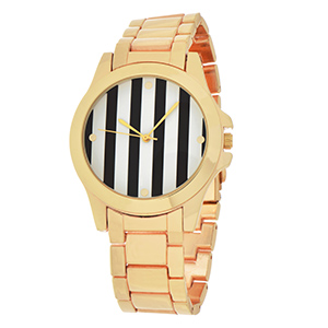 "Beautiful gold tone metal band boyfriend style watch featuring a 1 3/4"" gold tone rimmed black and white stripe print watch face."