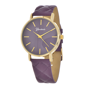 "Purple tone faux leather quilted style band featuring a 1 1/2"" purple tone watch face with a gold tone trim."