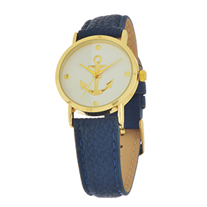 Navy blue tone faux leather watch featuring a gold tone anchor and accents.