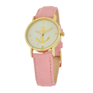 Pink tone faux leather watch featuring a gold tone anchor and accents.