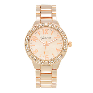 "Rose gold tone metal band watch featuring a 1 1/2"" watch face with a rhinestone rim."