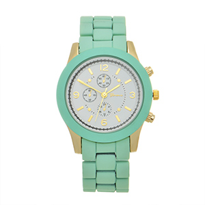 "Mint green ceramic silicone band watch with a 1 1/2"" watch face."