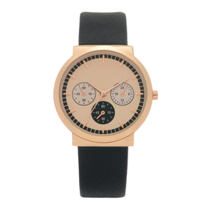 "Black faux leather band watch featuring a 1 1/2"" rose gold tone face."