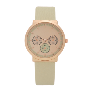 "Ivory faux leather band watch featuring a 1 1/2"" rose gold tone face."
