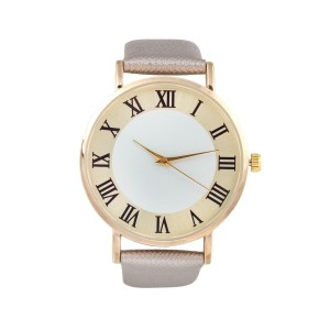 "Pewter genuine leather band watch featuring a 1 1/2"" gold tone face with roman numerals."