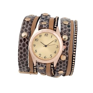 "Gray wrap band watch with gold tone studs and a 1 1/4"" face."