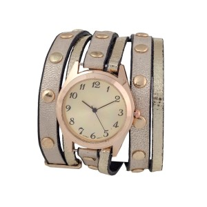 "Gold faux leather wrap band watch with gold tone studs and a 1 1/4"" face."