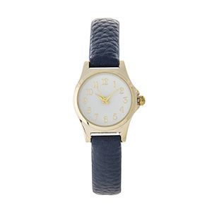 "Navy blue faux leather mini-watch featuring a white face with gold tone accents. Approximately 8"" in length."