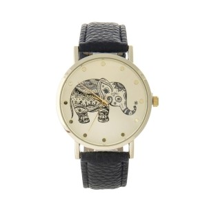 "Black faux leather watch featuring a gold tone face with a black elephant. Approximately 9"" in length."