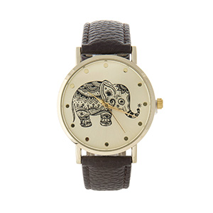"Brown faux leather watch featuring a gold tone face with a black elephant. Approximately 9"" in length."