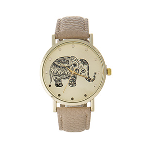 "Tan faux leather watch featuring a gold tone face with a black elephant. Approximately 9"" in length."