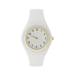 White silicone watch with gold tone hardware.