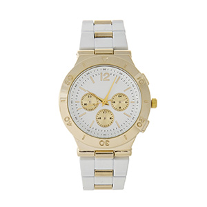 White coated metal band watch with gold tone accents.