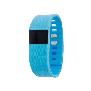 "Light blue activity tracker measures heart rate, counts steps, calories, monitors sleep, measures distance, is task reminding on a 0.49"" OLED screen."