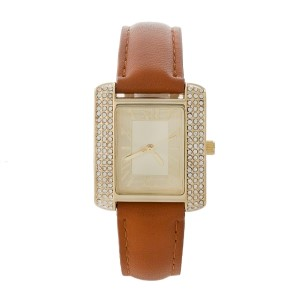 """Cognac faux leather watch with Roman numerals and a square face accented by clear rhinestones. Face measures approximately 1.25"""" in diameter."""