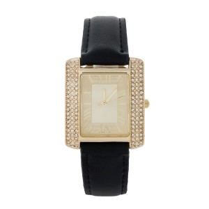 "Black faux leather watch with Roman numerals and a square face accented by clear rhinestones. Face measures approximately 1.25"" in diameter."