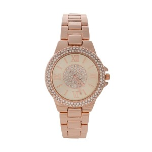 "Rose gold tone metal watch with pave rhinestones around and in center of face. Face is approximately 1.25"" in diameter."
