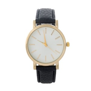 "Black and gold tone faux leather minimalistic watch. Face measures approximately 1.5"" in diameter."