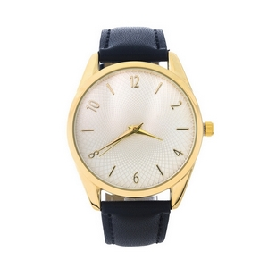 Black faux leather watch with gold tone hardware and a textured face.