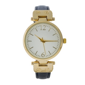 Black faux leather watch with gold tone hardware and a white face.