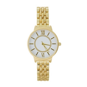 Dainty gold tone, metal watch featuring a white face and Roman numerals.