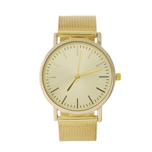 Gold tone watch featuring a mesh metal band.