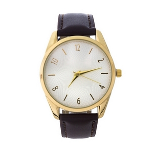 Brown faux leather watch with gold tone hardware and a textured face.