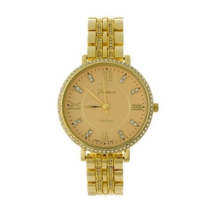Gold tone watch with clear rhinestones around the face.