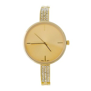 Gold tone watch with clear rhinestone accents.