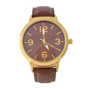Brown faux leather boyfriend watch with a monochromatic face.