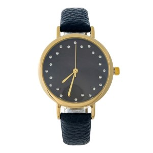 Black faux leather watch with a monochromatic face and clear rhinestone accents.