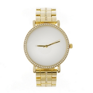 Metal statement watch with clear rhinestones around the face and along the band.