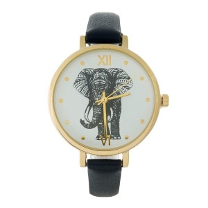 Faux leather watch with an elephant face and gold tone hardware.