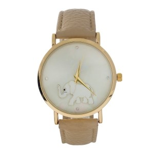 Beige, faux leather watch with an elephant and mother of pearl face.