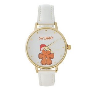 Faux leather band watch with gold tone accents and a Christmas theme.