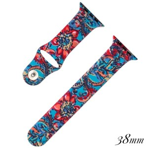 Floral print silicone watch band for smart watches. Fits the 38mm size smart watch. WATCH NOT INCLUDED.
