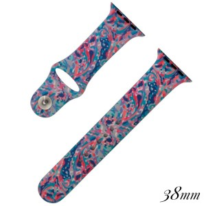 Sea life print silicone watch band for smart watches. Fits the 38mm size smart watch. WATCH NOT INCLUDED.