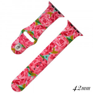 "Floral print silicone watch band for smart watches. Fits the 42mm size smart watch. Fits apple watch Approximate 5 1/2"" in length."