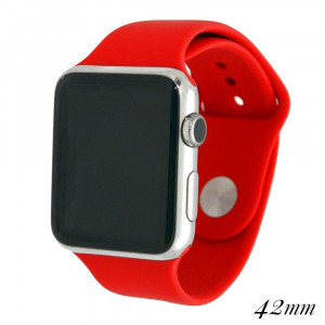 """Solid red silicone watch band for smart watches. Fits the 42mm size smart watch. WATCH NOT INCLUDED. Fits Apple watch. Approximate 5 1/2"""" in length."""