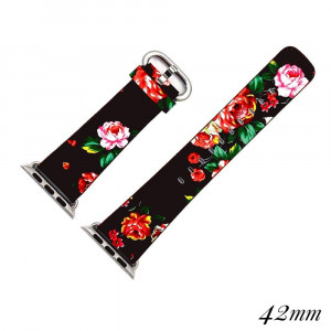 """Interchangeable faux leather band for smart watches featuring a black floral print. Approximately 9.75"""" in length.  - 42mm - Adjustable closure"""