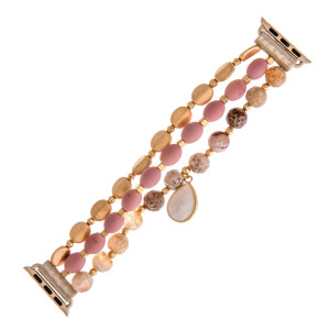 "Interchangeable beaded stretch watch band for smart watches featuring natural stone and metal inspired bead details with a teardrop charm. WATCH NOT INCLUDED. Approximately 9.5"" in length.  - 38mm - Adjustable closure"