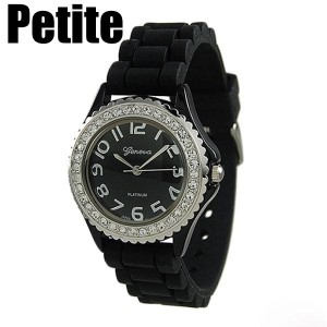 Petite black silicone watch with crystal rhinestones surrounding the face. Stainless steel back measures approximately 1 inch in diameter.