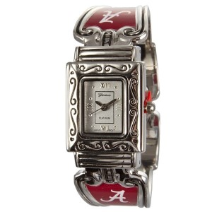 Officially licensed University of Alabama - Silver tone cuff band watch with details around the face.