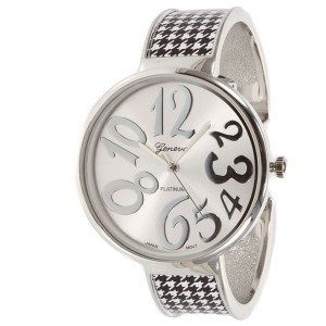 University of Alabama inspired collegiate fashion watch featuring silver tone finish, large whimsical face, and houndstooth pattern accents.