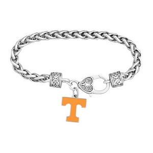 "7.5"" silver tone licensed Tennessee charm bracelet with a 3/4"" ""T"" charm that has orange enamel."