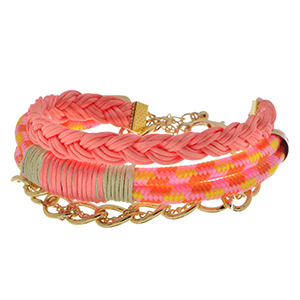 "8"" - 9"" Adjustable lobster clasp 4 row pink rope bracelet featuring orange and yellow tones."
