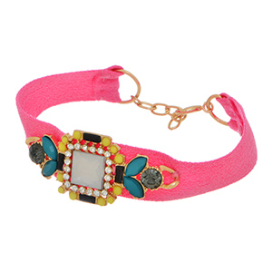 "6 1/2"" - 7 1/2"" Hot pink fabric bracelet featuring a mixed color tone cluster focal."